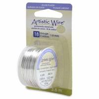 Beadalon Artistic Wire (Modellierdraht), 18 Gauge (1,0 mm), versilbert, Rolle mit 4 yd (3,6 m)