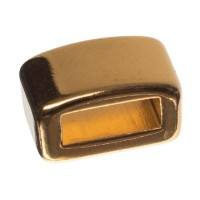 Metallperle Mini-Slider Viereck, vergoldet, ca. 5 x 8,5 mm