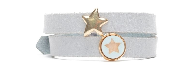 Craft Lederarmband für Slider Perlen Stern Vergoldet