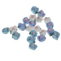 Blumen aus Polymer Clay, 5 x 3 mm, 21 Stück, Blautöne, Filler für Glaskugeln