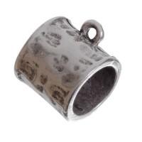 Metallperle mit Großloch, Röhre, 16 mm, versilbert
