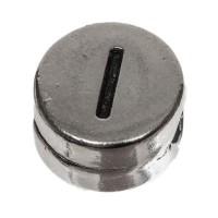 Metallperle, rund, Buchstabe I, Durchmesser 7 mm, versilbert
