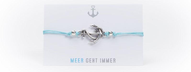 Anker-Baumwollarmband Hellblau-Silber
