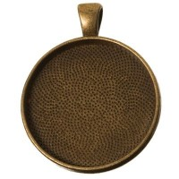 Anhänger für Cabochons, rund 30 mm, bronzefarben