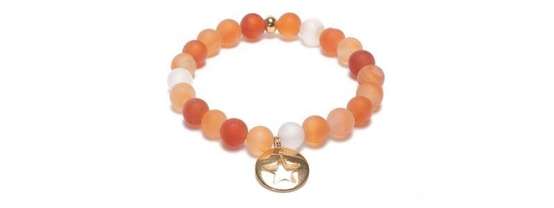 Armband mit bunten Edelsteinkugeln Mix Anhänger VII