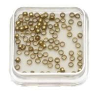 100 Quetschperlen, rund, 2,0 mm, goldfarben