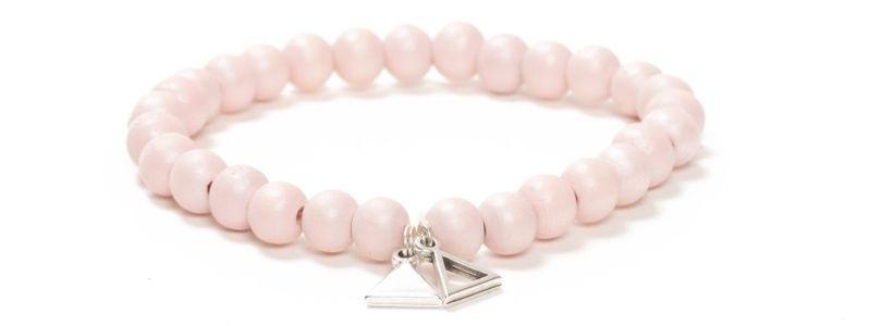Geometrisches Holzperlen-Armband Rosa