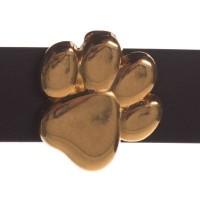 Metallperle Slider Pfote, vergoldet, ca. 14 x 14 mm, Durchmesser Fädelöffnung:  10,2 x 2,3 mm