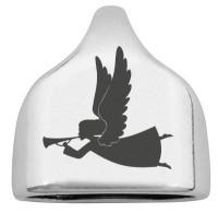 """Endkappe mit Gravur """"Engel"""", 22,5 x 23 mm, versilbert, geeignet für 10 mm Segelseil"""