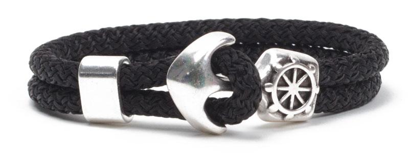 Anker & Segelseil-Armband Schwarz