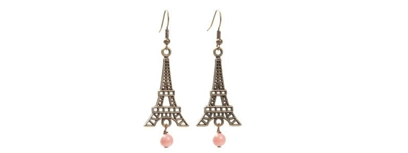 Ohrhänger Eiffelturm rosa-bronzefarben