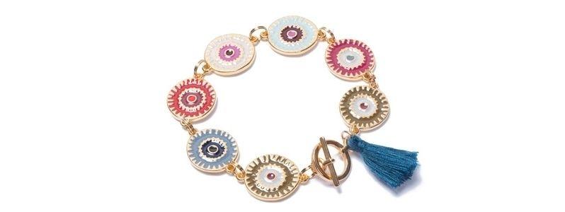 Armband mit Boho Emaille Scheiben