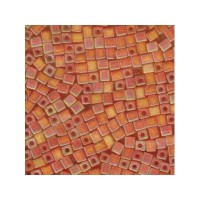 Miyuki Würfel 4 mm, transparent frstd rnbw orange, ca. 20 gr