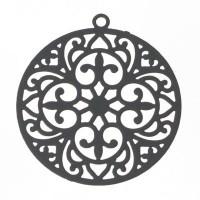 Metallanhänger Boho Rund filigran, 22 x 20 mm, grau