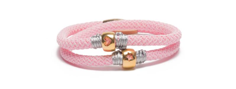 Armband mit Segelseil und vergoldeten Röhren