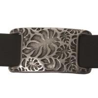 Metallperle Slider Viereck mit Blättern, versilbert, ca. 26 x 14 mm