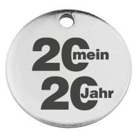 """Edelstahl Anhänger, Rund, Durchmesser 15 mm, """"Mein Jahr 2020"""", silberfarben"""