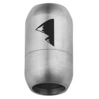 Edelstahl Magnetverschluss für 8 mm Bänder, Verschlussgröße 21 x 12 mm, Motiv Berggipfel, silberfarb