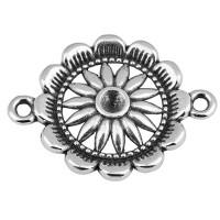 Armbandverbinder Rund mit Blume, 21 mm, versilbert