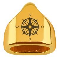 """Endkappe mit Gravur """"Kompassrose"""", 13 x 13,5 mm, vergoldet, geeignet für 5 mm Segelseil"""