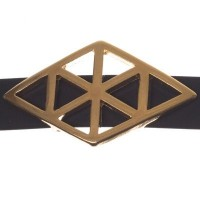 Metallperle Slider / Schiebeperle Raute Geometrie, vergoldet, ca. 35 x 21 mm