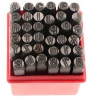 Basic Schlagstempelset Buchstaben und Zahlen 0 bis 9, Größe 7 mm