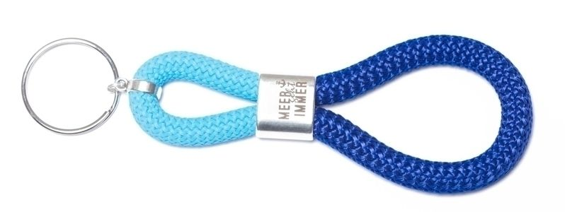 Schlüsselanhänger aus Segelseil Meer Blau-Türkis