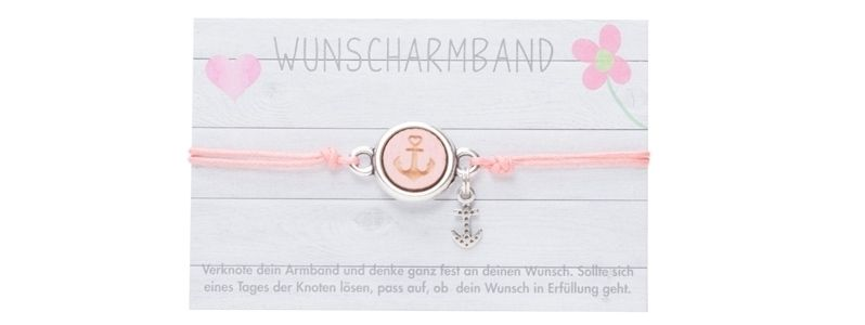 Wunscharmband mit Cabochon Anker Rosa