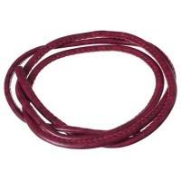 Kunst-Lederband sichtbare Naht, 4 mm, Länge 1 m, weinrot