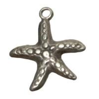 Metallanhänger, Seestern,  ca. 23 mm, versilbert