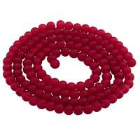 Glasperlen, gefrostet, Kugel, siam, Durchmesser 4 mm, Strang mit ca. 200 Perlen