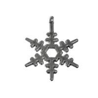 Metallanhänger Schneeflocke, 23 x 17,3  mm, silberfarben