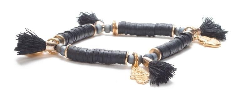 Armband mit Katsuki Perlen Hamsa Vergoldet