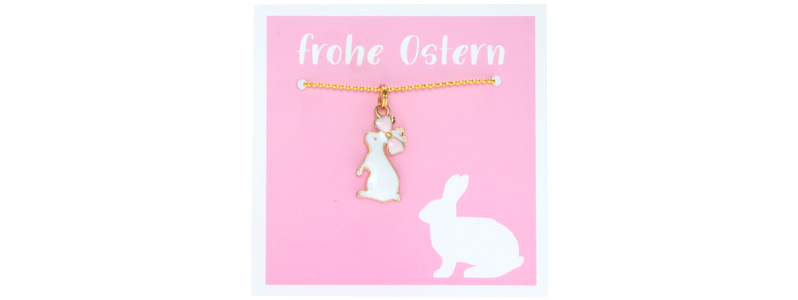 Osterschmuck Kette Hase rosa