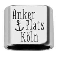 """Zwischenstück mit Gravur """"Ankerplatz Köln"""", 20 x 24 mm, versilbert, geeignet für 10 mm Segelseil"""