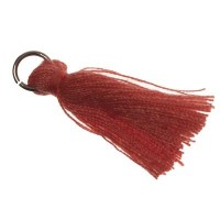 Quaste/Troddel, 25 - 30 mm, Baumwollgarn mit Öse (silberfarben), koralle