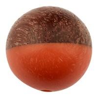 Perle aus Holz und Resin, Kugel, 15,0 mm, Loch 1,6 mm, lachs
