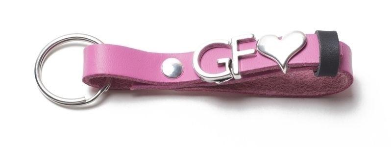 Schlüsselanhänger aus Lederband mit Slidern Rosa