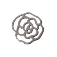 Metallanhänger Rose, 17 x 17 mm, versilbert