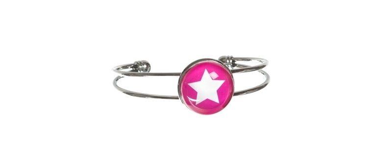 Armreif mit Glasabochon und Stern pink