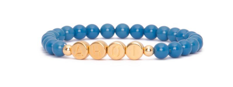 Armband mit vergoldeten Buchstabenperlen Ahoi