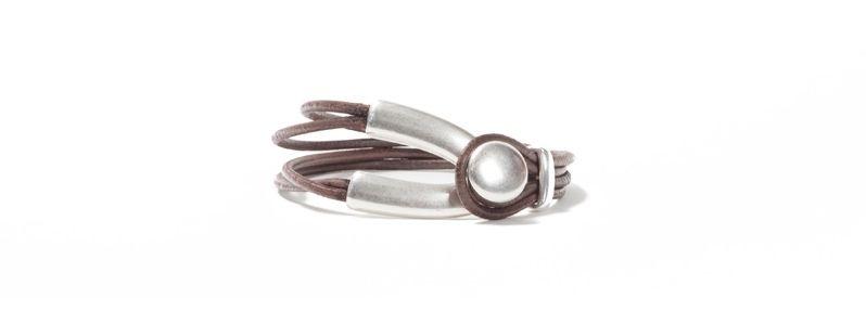 Armband Metall & Leder Knopf