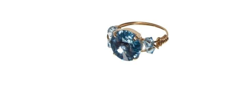 Goldige Ringe mit Swarovski Rivoli Aqua
