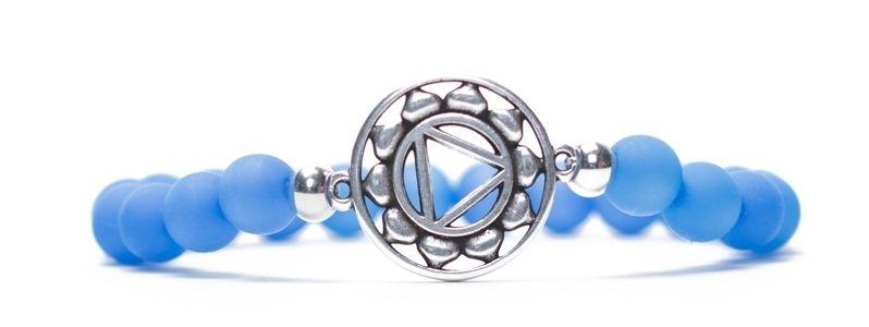 Armband Halschakra versilbert hellblau
