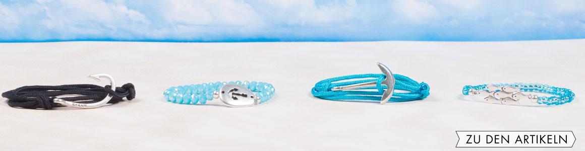 Armbänder mit maritimen Anhängern und Perlen