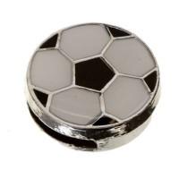 Metallperle Fußball,  12,4 x 4,4 mm, emailliert, silberfarben