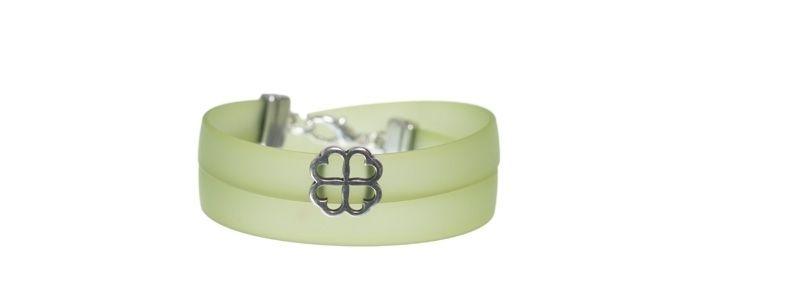 PVC-Armband mit Schiebeperle Kleeblatt