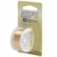 Beadalon Artistic Wire (Modellierdraht), 30 Gauge (0,26 mm), messingfarben, Rolle mit 30 yd (27,4 m)