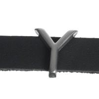 """Metallperle Slider / Schiebeperle Buchstabe """"Y"""", versilbert, ca. 11,9 x 13,8 mm"""