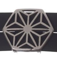 Metallperle Doppel-Slider / Schiebeperle Achteck, versilbert, ca.  25 x 23 mm